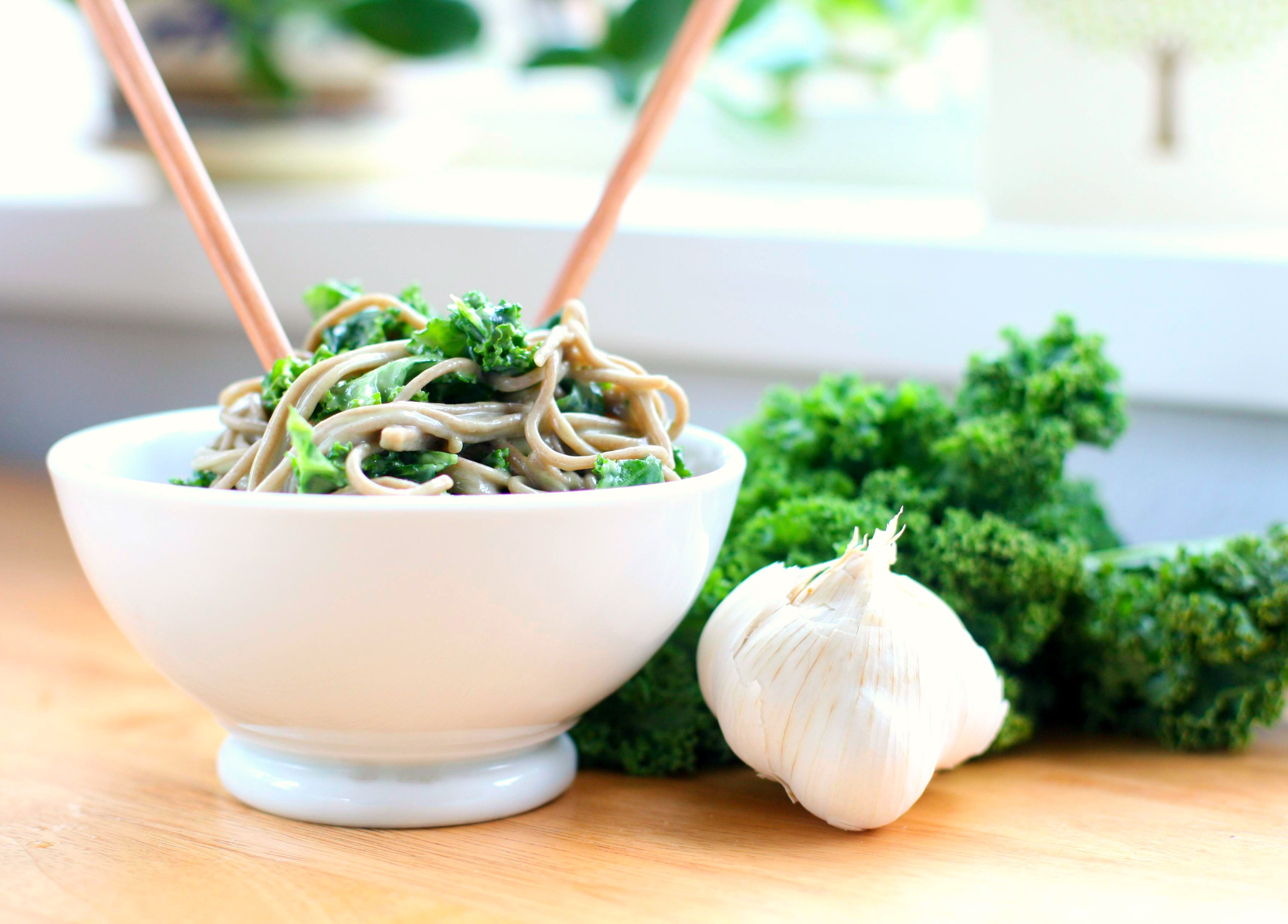 Soba Noodles and Kale with Avocado Miso Sauce | Produce on Parade