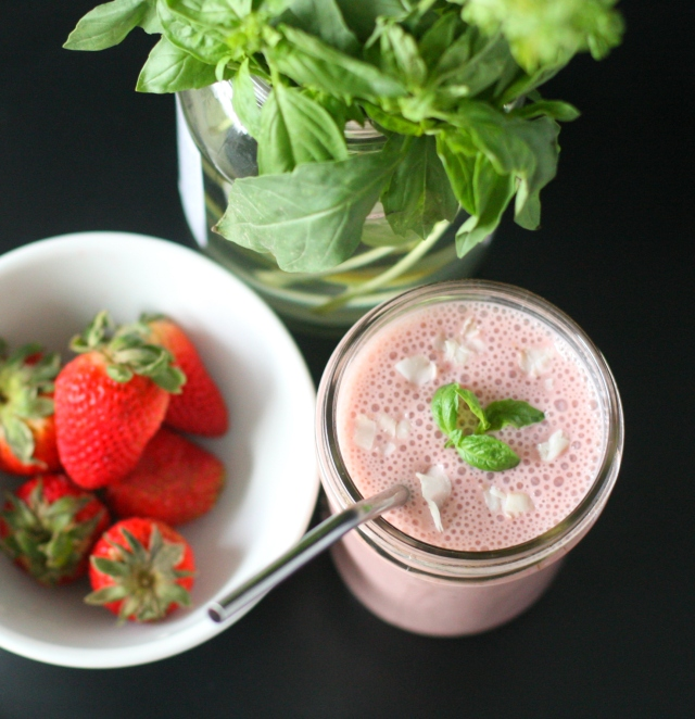Sweet & Creamy Strawberry Basil Milk