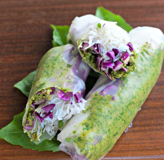 Produce on Parade: Fresh Thai Pesto and Purple Cabbage Spring Rolls